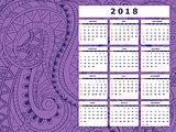 dark violet tangle zen pattern calendar year 2018
