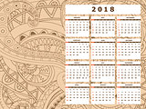 light beige tangle zen pattern calendar year 2018