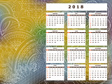 yellow-blue tangle zen pattern calendar year 2018