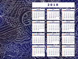 dark blue tangle zen pattern calendar year 2018