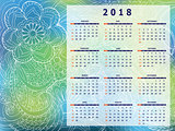 blue-green tangle zen pattern calendar year 2018