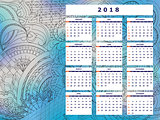 blue-gray tangle zen pattern calendar year 2018