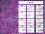 violet tangle zen pattern calendar year 2018