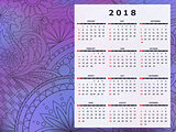 blue-violet tangle zen pattern calendar year 2018