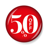 Fifty percent off button red
