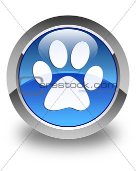 Animal footprint icon glossy blue round button