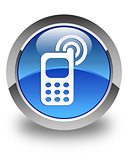 Cellphone ringing icon glossy blue round button