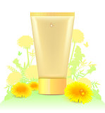 Tube for cosmetics template. Yellow dandelion flower