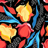 Graphics floral bright vector pattern