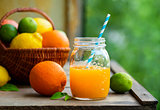Fresh orange juice in a glass jar