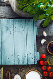 Wooden planks with food