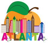 Atlanta Skyline Peach Dogwood Colorful Text Illustration