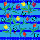 Illustration with tulips