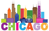 Chicago City Skyline Text Color Illustration