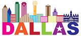 Dallas Skyline Lone Star Text Color Illustration