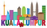 Kuala Lumpur City Skyline Txt Color Illustration
