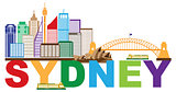Sydney Australia Skyline Text Colorful Abstract Illustration