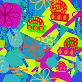 Seamless abstract design with ovals; flower, squares