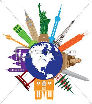 Tourist Attractions Around The World Globe