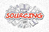 Sourcing - Cartoon Red Text. Business Concept.