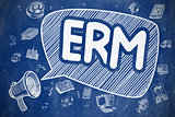 ERM - Doodle Illustration on Blue Chalkboard.