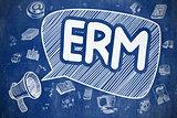 ERM - Doodle Illustration on Blue Chalkboard.