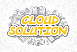 Cloud Solution - Doodle Yellow Word. Business Concept.