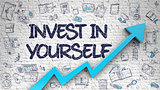 Invest In Yourself Drawn on White Brick Wall. 3D.