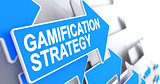 Gamification Strategy - Label on the Blue Cursor. 3D.