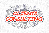Clients Consulting - Cartoon Red Word. Business Concept.
