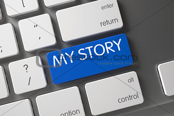 Blue My Story Key on Keyboard. 3D.