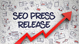 SEO Press Release Drawn on Brick Wall. 3D.