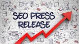 SEO Press Release Drawn on Brick Wall. 3D.
