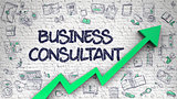 Business Consultant Drawn on Brick Wall. 3D.