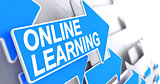 Online Learning - Inscription on the Blue Cursor. 3D.