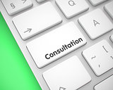 Consultation - Inscription on White Keyboard Button. 3D.