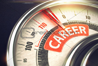 Career - Message on Conceptual Gauge with Red Needle. 3D.