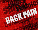 Medicine concept: Back Pain on Red Brickwall .