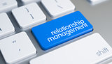 Relationship Management - Text on the Blue Keyboard Key. 3D.
