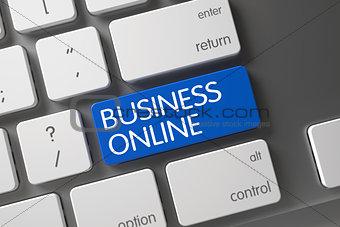 Blue Business Online Keypad on Keyboard. 3D.