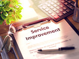 Service Improvement Concept on Clipboard. 3D.