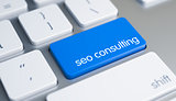 SEO Consulting - Inscription on the Blue Keyboard Button. 3D.