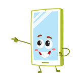 Cartoon mobile phone, smartphone character pointing to something with finger