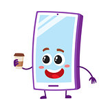 Funny cartoon mobile phone, smartphone character holding paper coffee cup