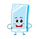 Funny cartoon mobile phone, smartphone character standing arms akimbo