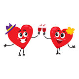 Two hearts clinking glasses, celebrating, couple in love concept