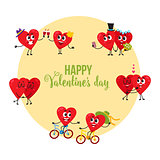 Valentine day greeting card with couples of loving heart characters
