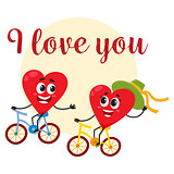 I love you - greeting card design with heart characters riding bicycles
