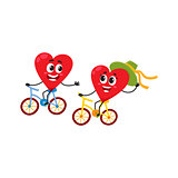 Two hearts cycling together, riding bicycles, couple in love concept