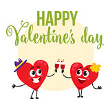Valentine day greeting card design with heart characters clinking glasses